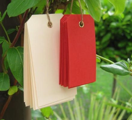 10 Red Eyelet Tags (small)