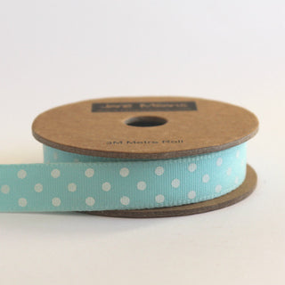 Duck Egg Blue and White Dotty Ribbon (100M)