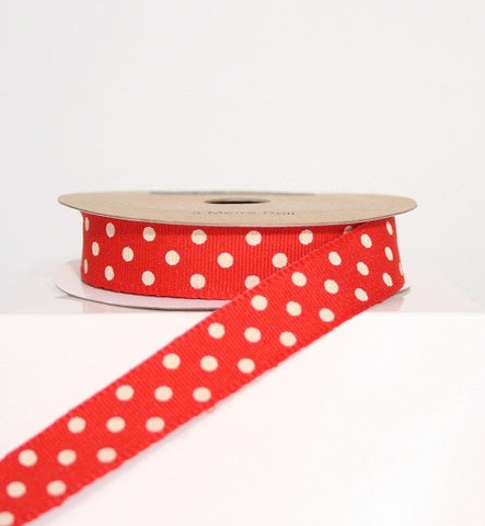 Red and White Spotty Ribbon (100M)