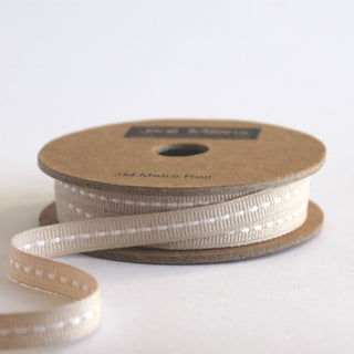 Narrow Beige Stitched Ribbon 7mm (100M)
