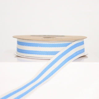 Royal Blue and White Stripe Grosgrain Ribbon (100M)