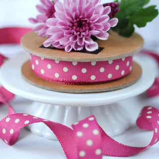 Raspberry and Cream Grey Spotty Ribbon (3M)