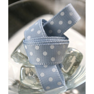 Pale Blue and White Dotty Ribbon 100m