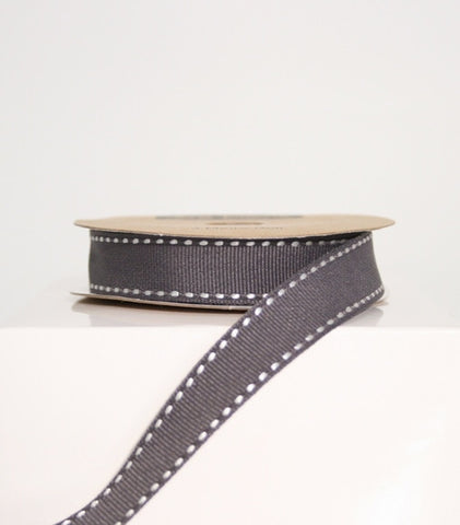 Slate Grey Stitched Ribbon 15mm (100M)