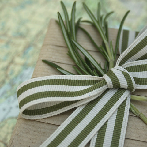 Sage and Cream Stripe Grosgrain Ribbon (100M)