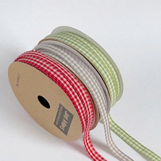 Narrow Grey Gingham Ribbon 7mm (3M)