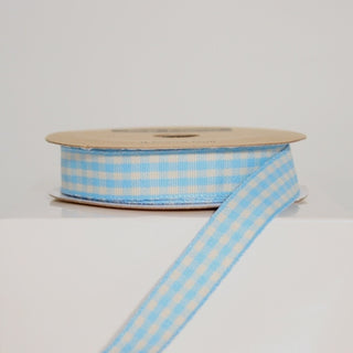 Blue Gingham Ribbon 15mm (10M)