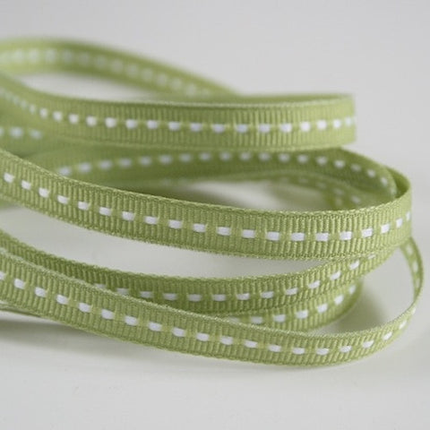 Narrow Sage Stitched Ribbon 7mm (100M)