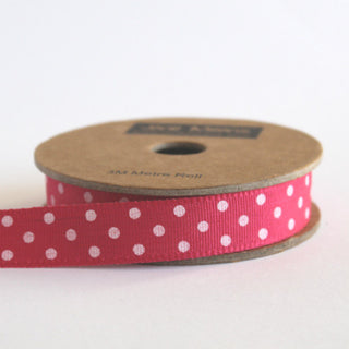 Fuchsia and White Dotty Ribbon (100M)