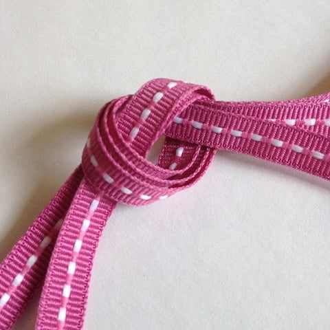 Narrow Raspberry Stitched Ribbon 7mm (10M)
