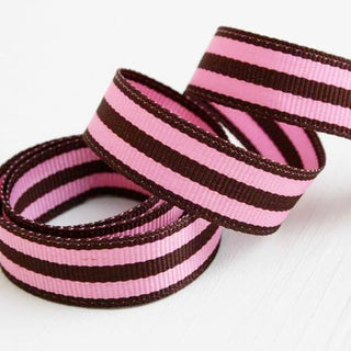Bubble Gum Pink and Brown Stripe Grosgrain Ribbon (100M)