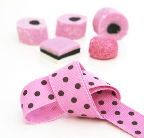 Bubble Gum Pink and Brown Spotty Ribbon (100M)
