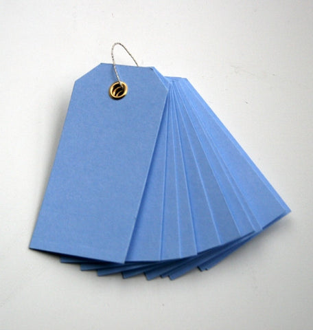 10 Powder Blue Eyelet Tags (small)