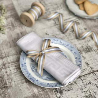 Blue and Cream Stripe Ribbon