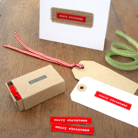 Red Fabric Labels - Christmas