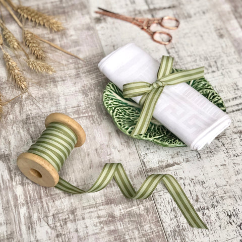 Fern and Sage Stripe Ribbon