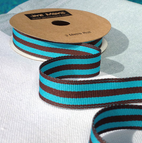 Turquoise and Brown Stripe Ribbon