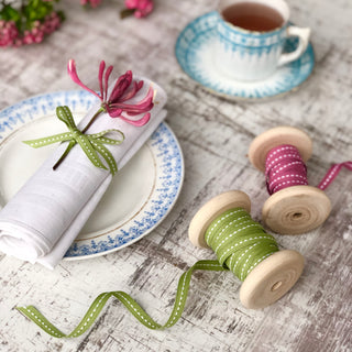 Narrow Sage Stitched Ribbon