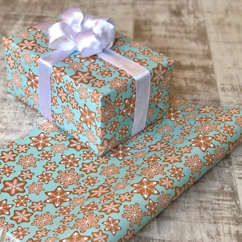 Blue Festive Gingerbread Gift Wrap