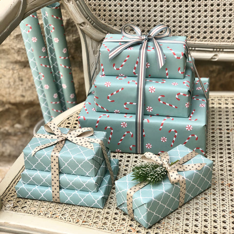 Reversible Turquoise Candy Cane Gift Wrap