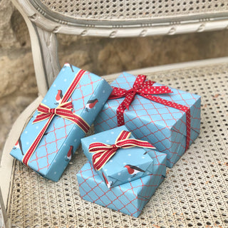 Reversible Turquoise Robin Gift Wrap