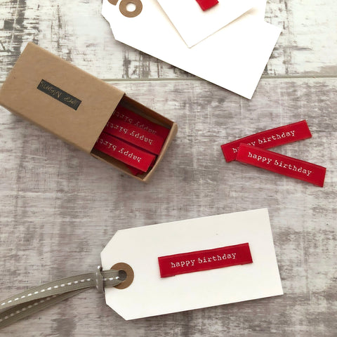 Red Fabric Labels - Birthday