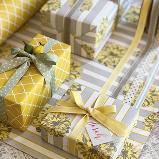 Reversible Yellow + Grey Dahlia Gift Wrap