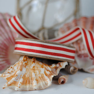 Red and Cream Stripe Ribbon