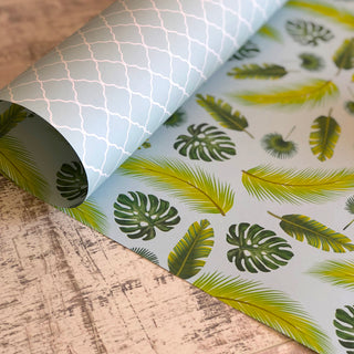 Reversible Tropical Leaves Gift Wrap