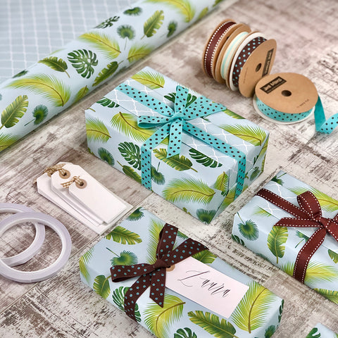 Reversible Tropical Leaves Gift Wrapping Set (RRP £40)