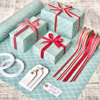 Reversible Turquoise Candy Cane Gift Wrapping Set
