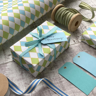 Turquoise and Blue Diamonds Gift Wrap (2 sheets)