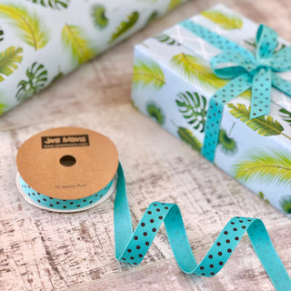 Turquoise and Brown Dotty Ribbon