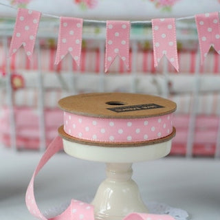 PInk and white Spotty Ribbon (100M)