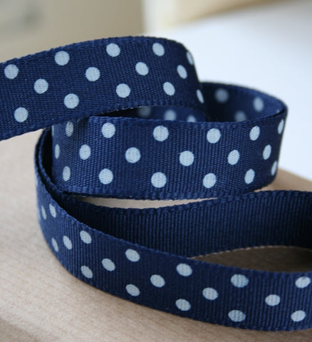 Navy and White Spotty Ribbon (10M)