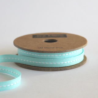 Narrow Duck Egg Blue Stitched Ribbon 7mm (10M)