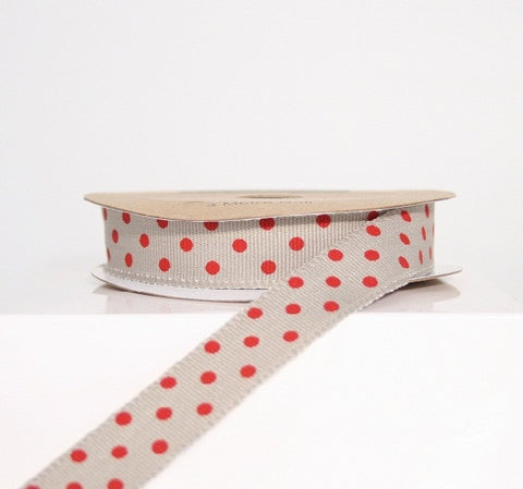 Grey and Red Dotty Ribbon (100M)