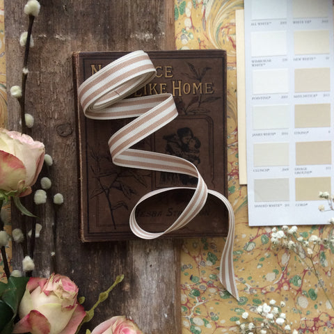 Beige and Cream Stripe Ribbon