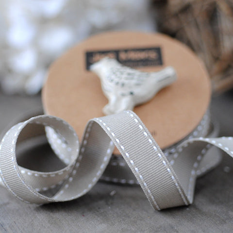 Grey Stitched Ribbon 15mm (100M)