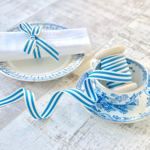 Royal Blue and White Stripe Ribbon