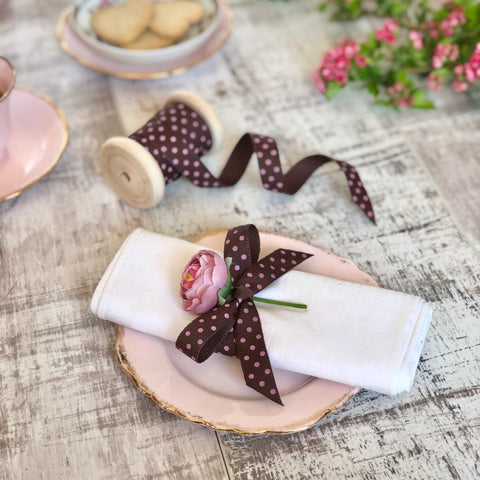 Chocolate Brown and Pink Dotty Ribbon