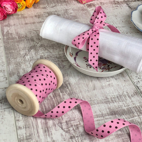 Bubblegum Pink and Brown Dotty Ribbon