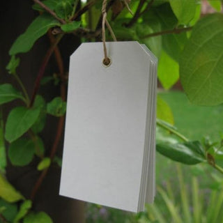 10 Light Grey Eyelet Tags (small)