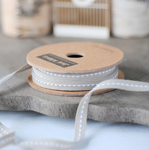 Narrow Grey Stitched Ribbon 7mm (10M)