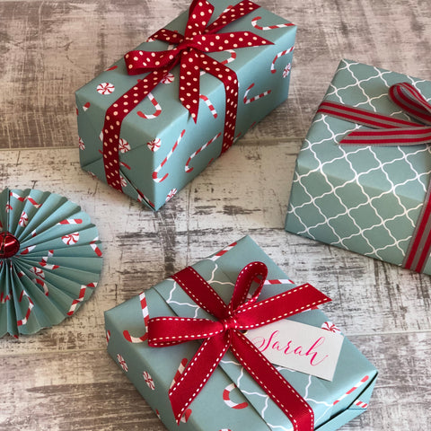 Reversible Turquoise Candy Canes Gift Wrap