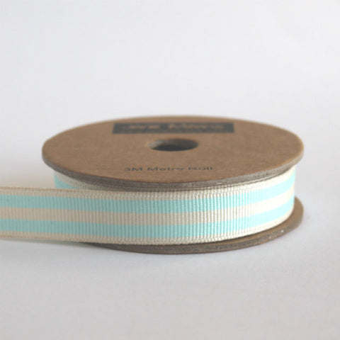 Duck Egg Blue and Cream Stripe Grosgrain Ribbon (100M)