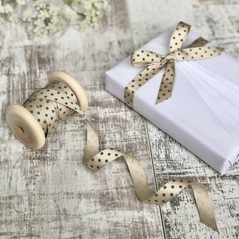 Cream and Grey Dotty Ribbon