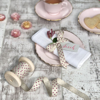 cream and raspberry pink dotty ribbon