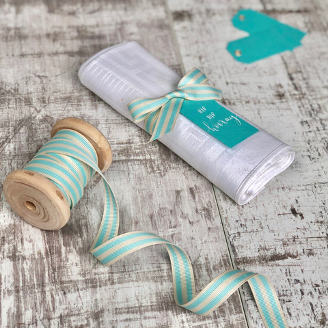 Duck Egg Blue and Cream Stripe Ribbon