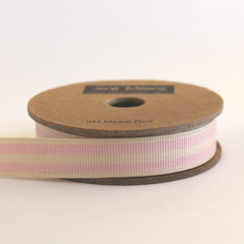 Pale Pink and Cream Stripe Grosgrain Ribbon (100M)